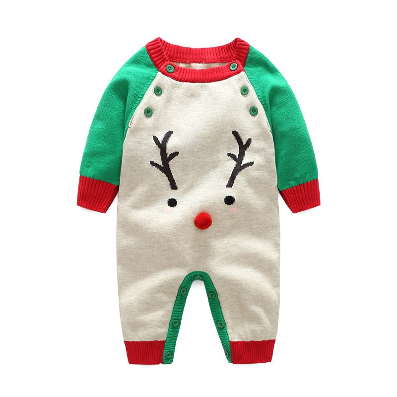 Baby Boy / Girl Christmas Deer Print Long-sleeve Jumpsuit