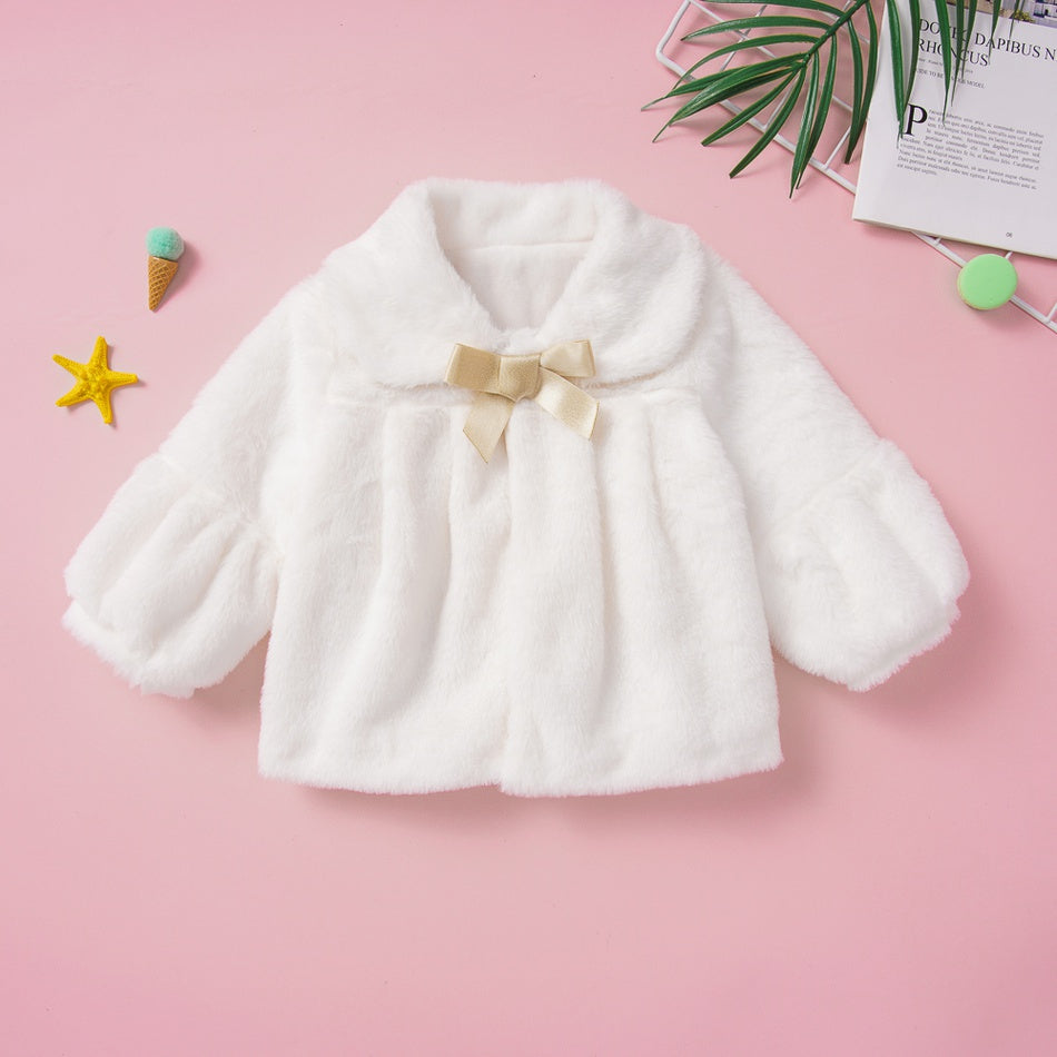 Baby / Toddler Girl Adorable Solid Bow Decor Fleece Warm Coat