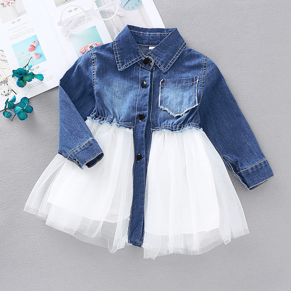 Baby / Toddler Stylish Denim Tulle Splice Dress