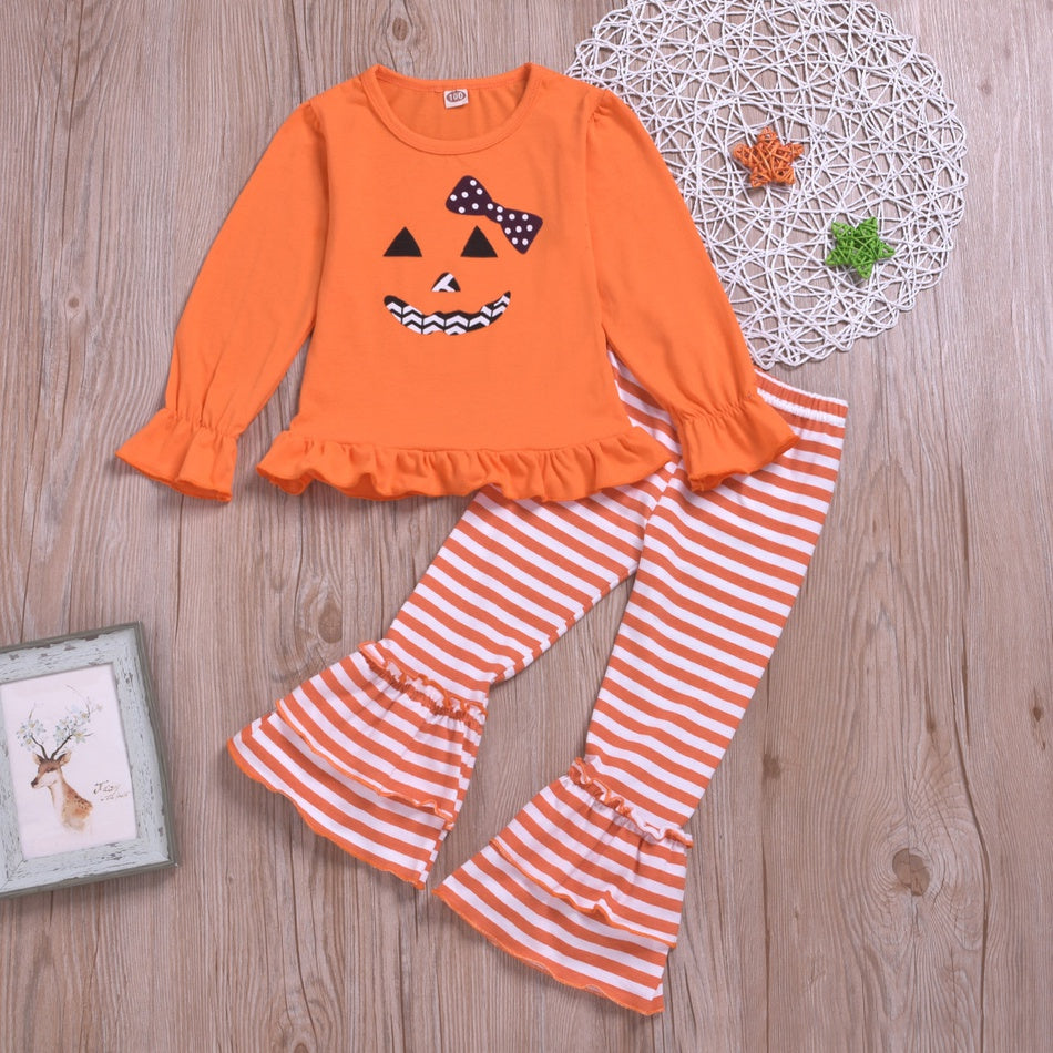 Baby Girl Halloween Ghost Print Top and Striped Bellbottom Pants Set