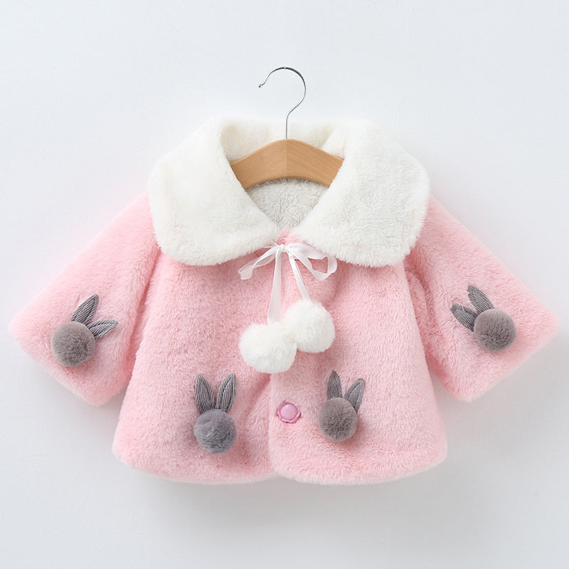 Baby Girl Adorable Pompon Decor Solid Hooded Warm Coat