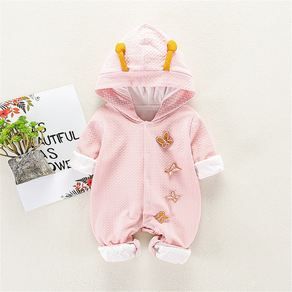 Baby Boy / Girl Solid Butterfly Decor Hooded Long-sleeve Jumpsuit