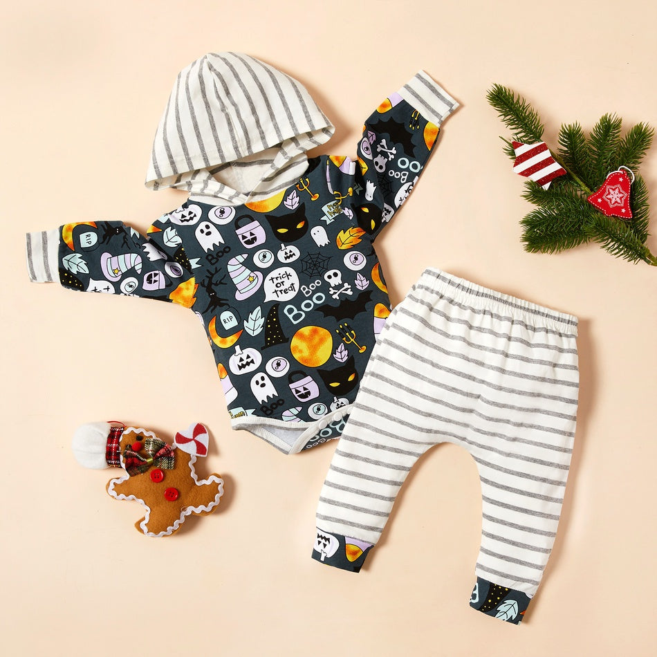 Baby Halloween Print Striped Hooded Bodysuit and Pants Set