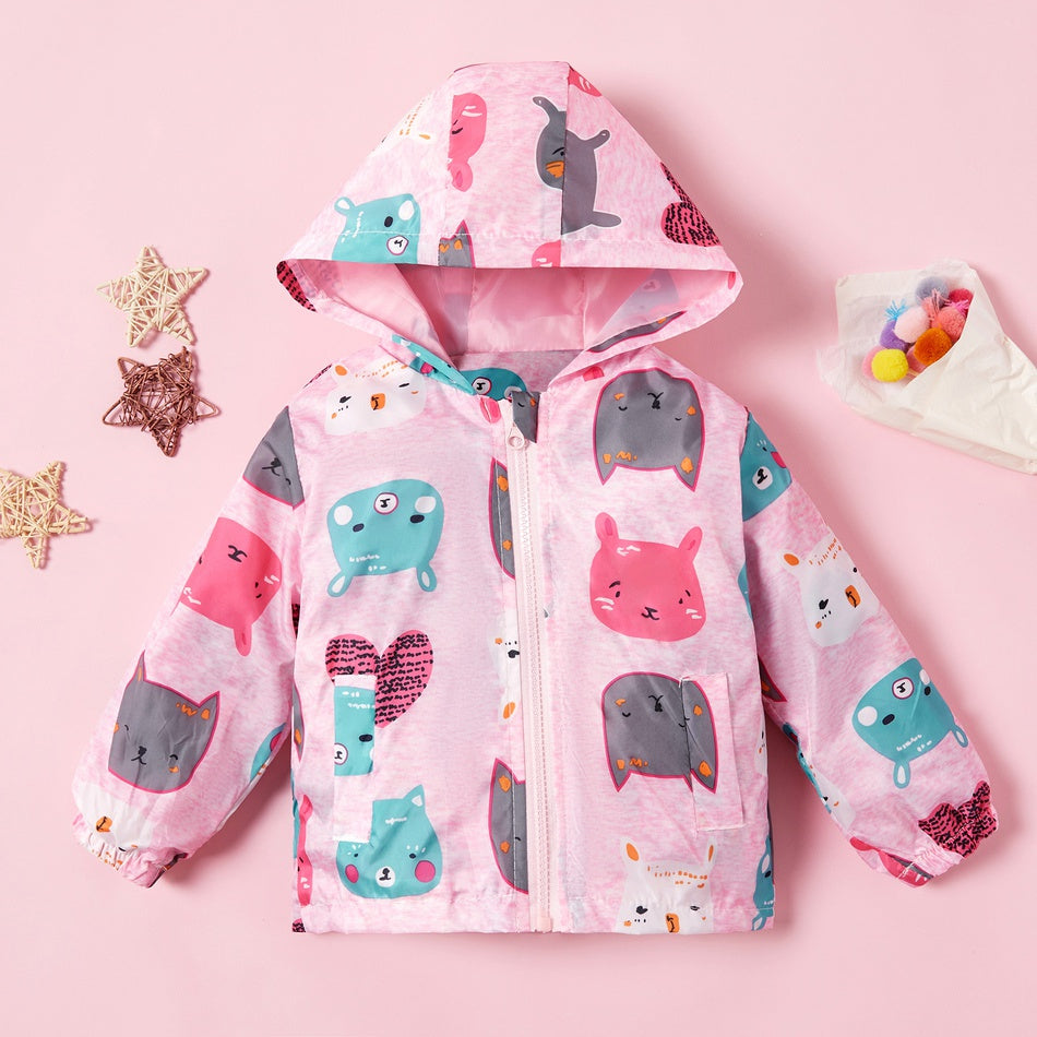 Baby / Toddler Girl Adorable Cat Allover Hooded Coat