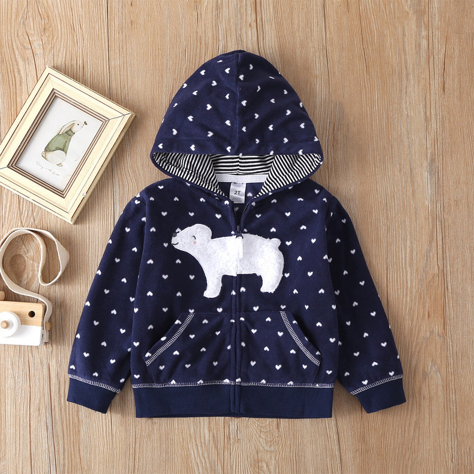 Toddler Girl Adorable Bear Decor Polka Dots Hooded Coat