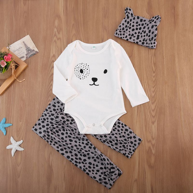 3-piece Baby Adorable Bear Bodysuit and Leopard Print Pants with Hat Set