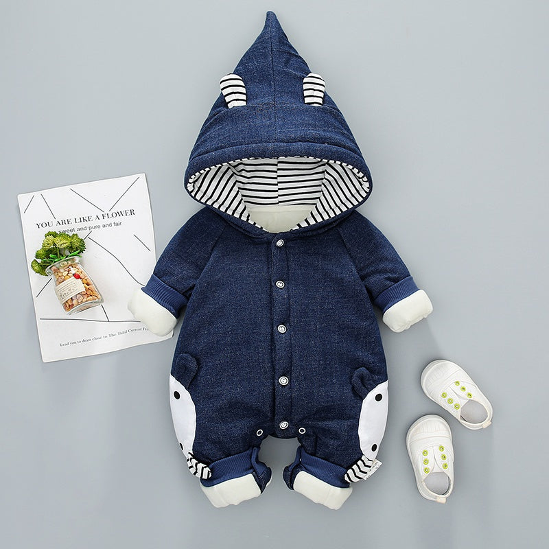 Baby Boy / Girl Down Coat Hooded Denim Long-sleeve Jumpsuit