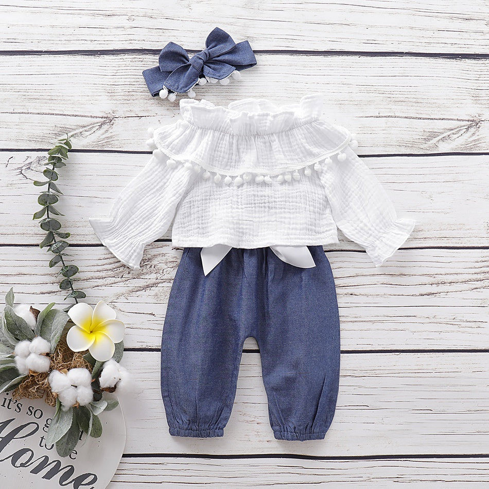 3-piece Baby / Toddler Pompon Decor Off Shoulder Top and Solid Pants with Headband Set