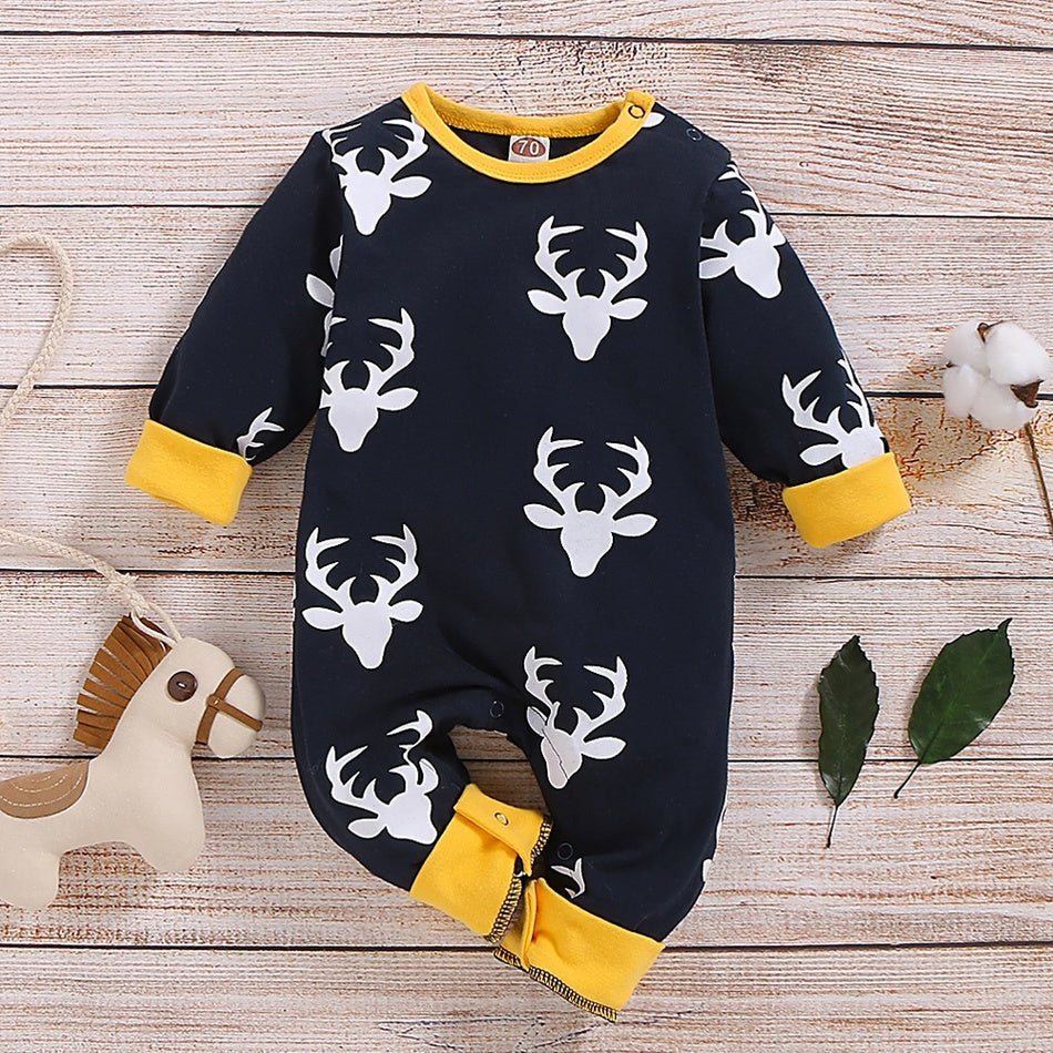 Baby Boy / Girl Reindeer Allover Long-sleeve Jumpsuit