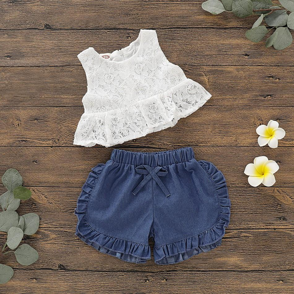 2-piece Baby Floral Sleeveless Top and Denim Shorts