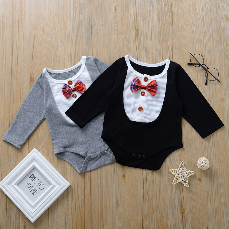 Baby Boy / Girl Gentleman Bowknot Decor Long-sleeve Romper