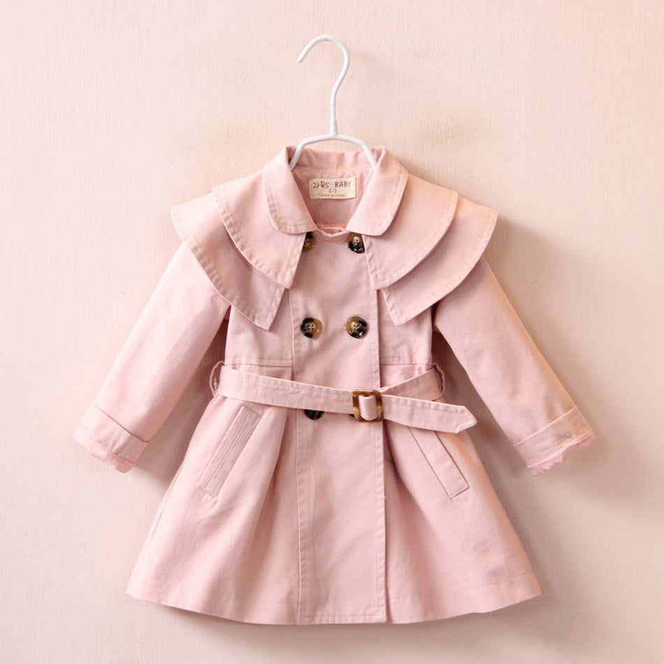 Stylish Solid Double-breasted Trench Coat for Toddler Girl and Girl