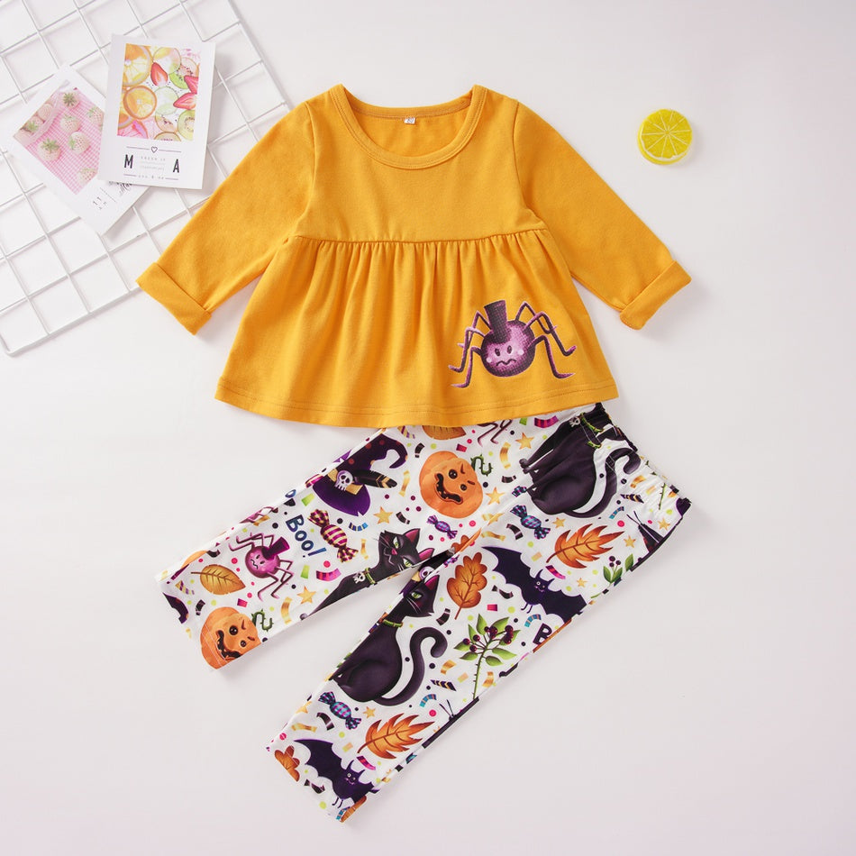 Baby / Toddler Halloween Spider Print Long-sleeve Top and Pumpkin Pants Set