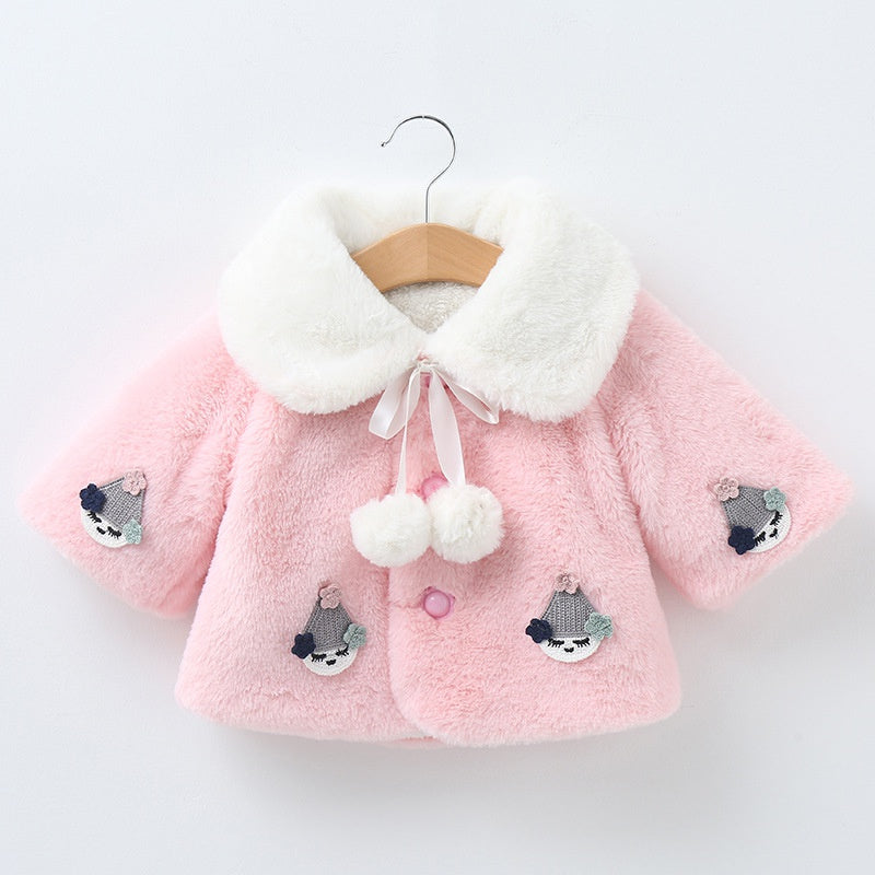 Baby / Toddler Girl Pretty Peony Decor Solid Furry Coat