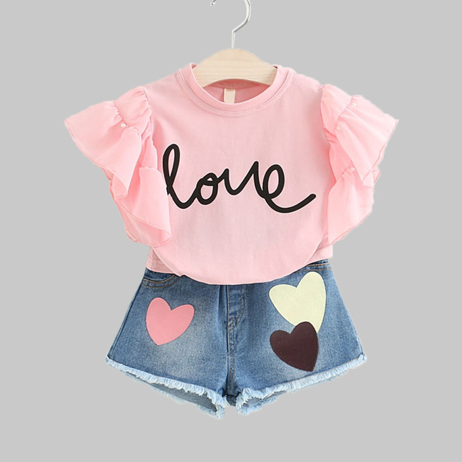 Baby/ Toddler Girl's Letter Print Flutter-sleeve Top and Heart Applique Jeans  2/19/19/6