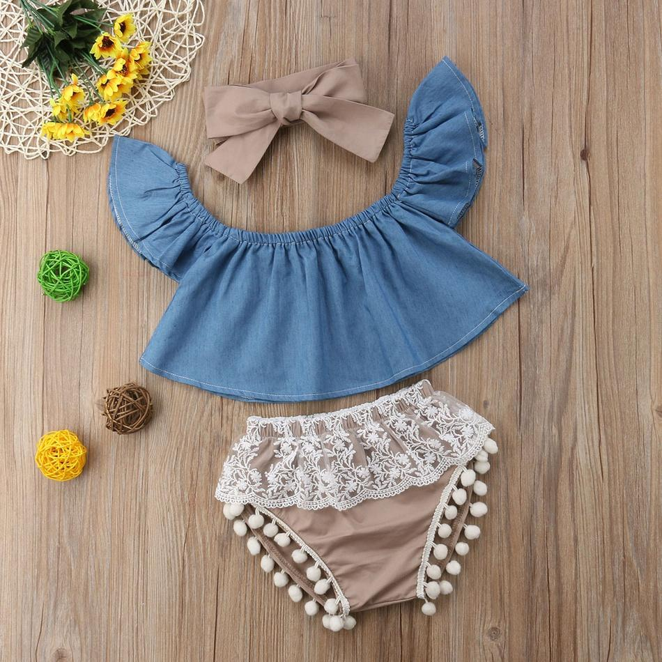 3-piece Baby Girl Denim Flutter-Sleeve Top and Lace Pompon Decor Shorts with Headband Set
