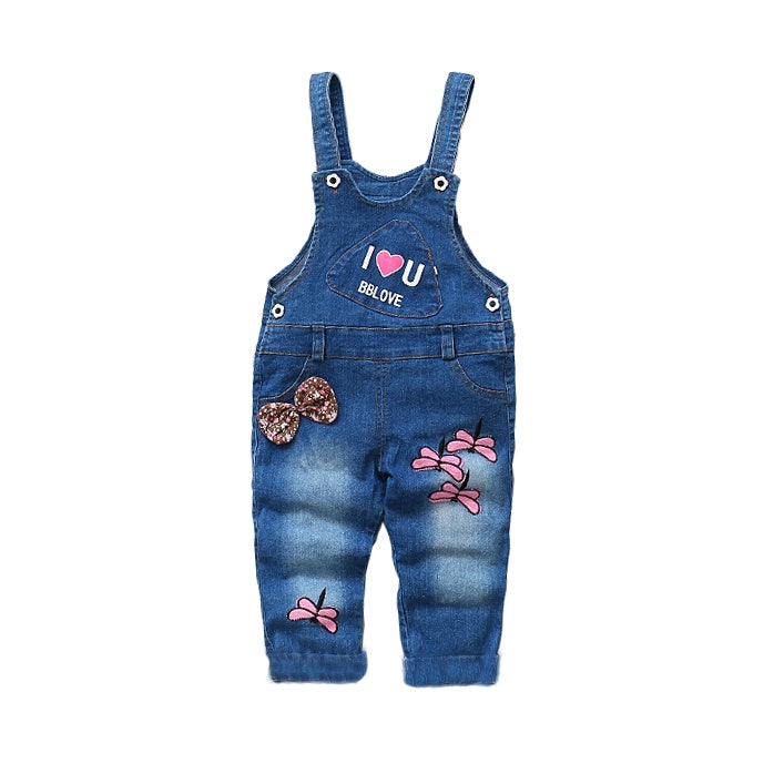 Pretty Dragonfly Applique Baby&Toddler Overalls