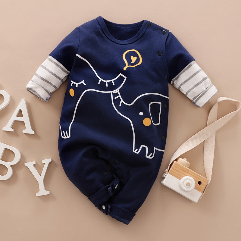 Baby Boy / Girl Newborn Cotton Elephant Print Long-sleeve Jumpsuit