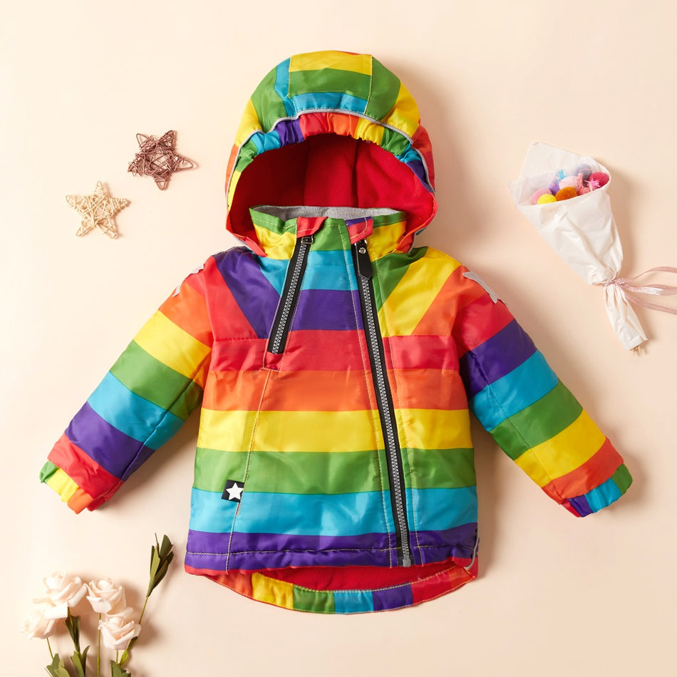 Baby / Toddler Stylish Rainbow Colorblock Hooded Coat