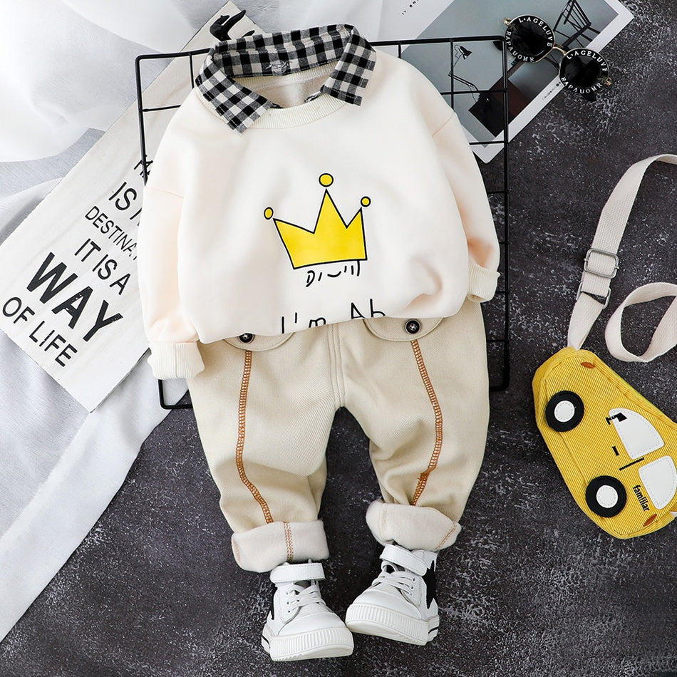 Baby / Toddler Crown Print Fleece-lining Top and Pants Set