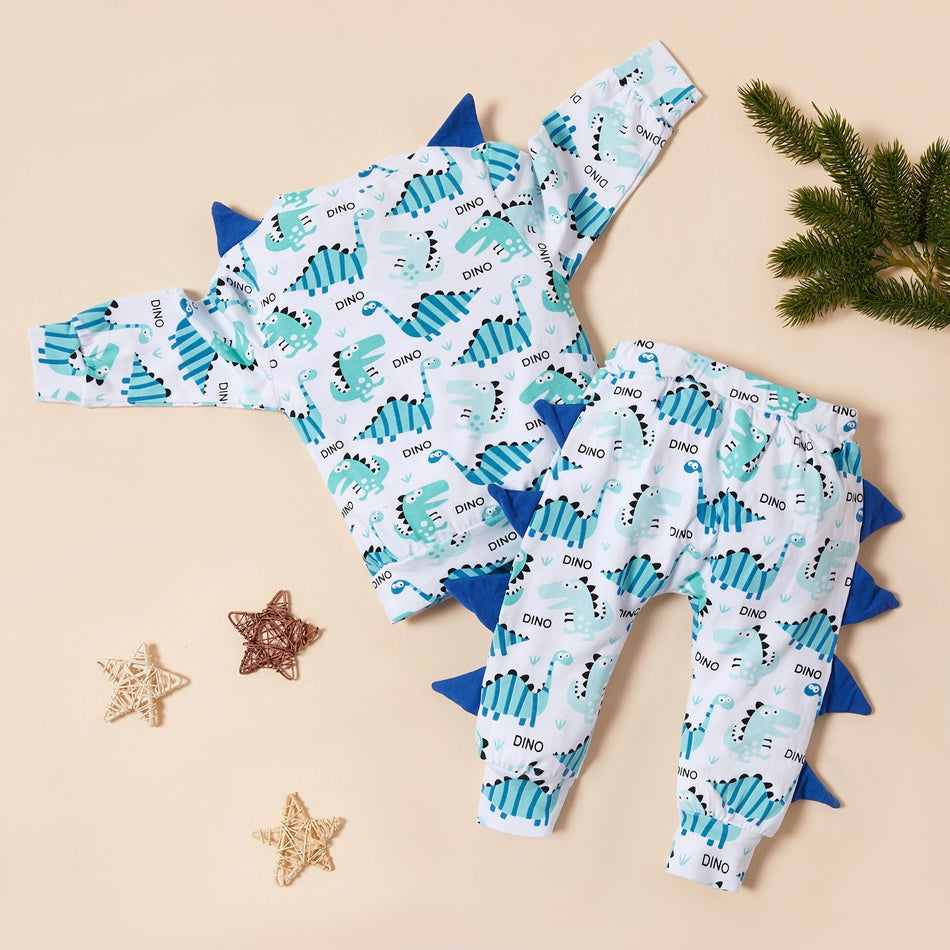 Baby Adorable Dinosaur Allover 3D Decor Top and Pants Set