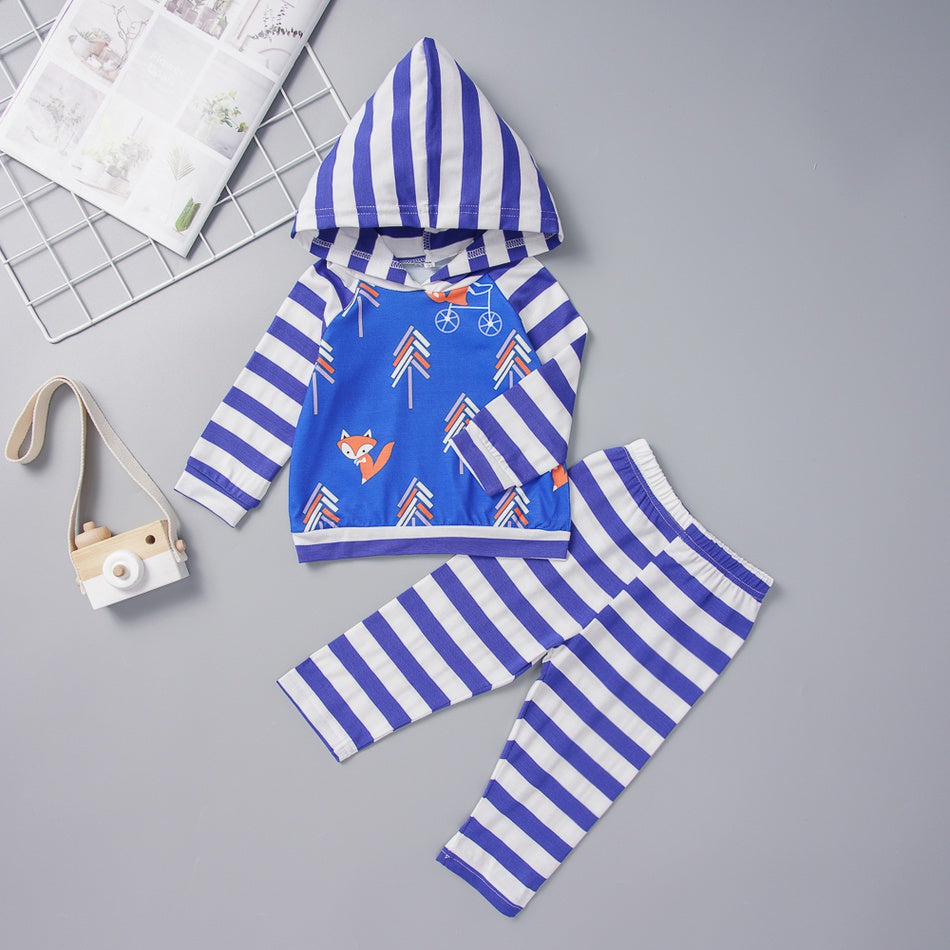 Baby / Toddler Striped Splice Fox Print Hooded Top and Pants Set