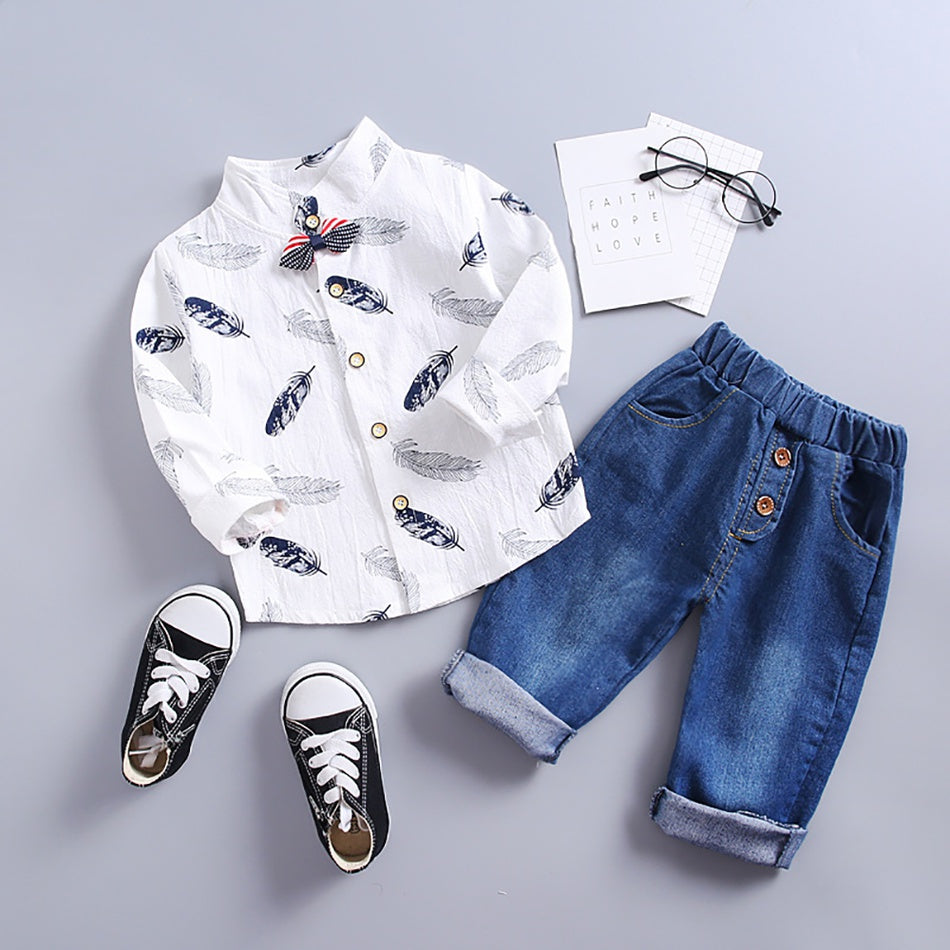 Baby / Toddler Boy Gentleman Feather Allover Shirt and Denim Pants Set