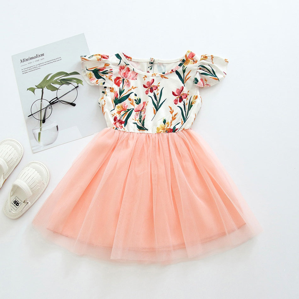 Baby / Toddler Girl Floral Print Mesh Splice Flutter-sleeve Dress