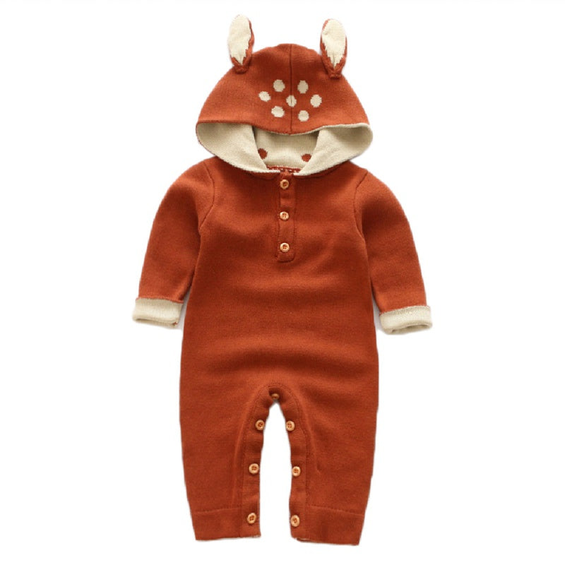 Baby Boy / Girl Newborn Cotton Reindeer Design Hooded Long-sleeve Jumpsuit