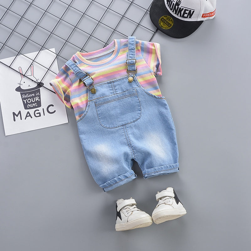Baby&Toddler Overalls Colorful Striped Tee and Overall Shorts Set