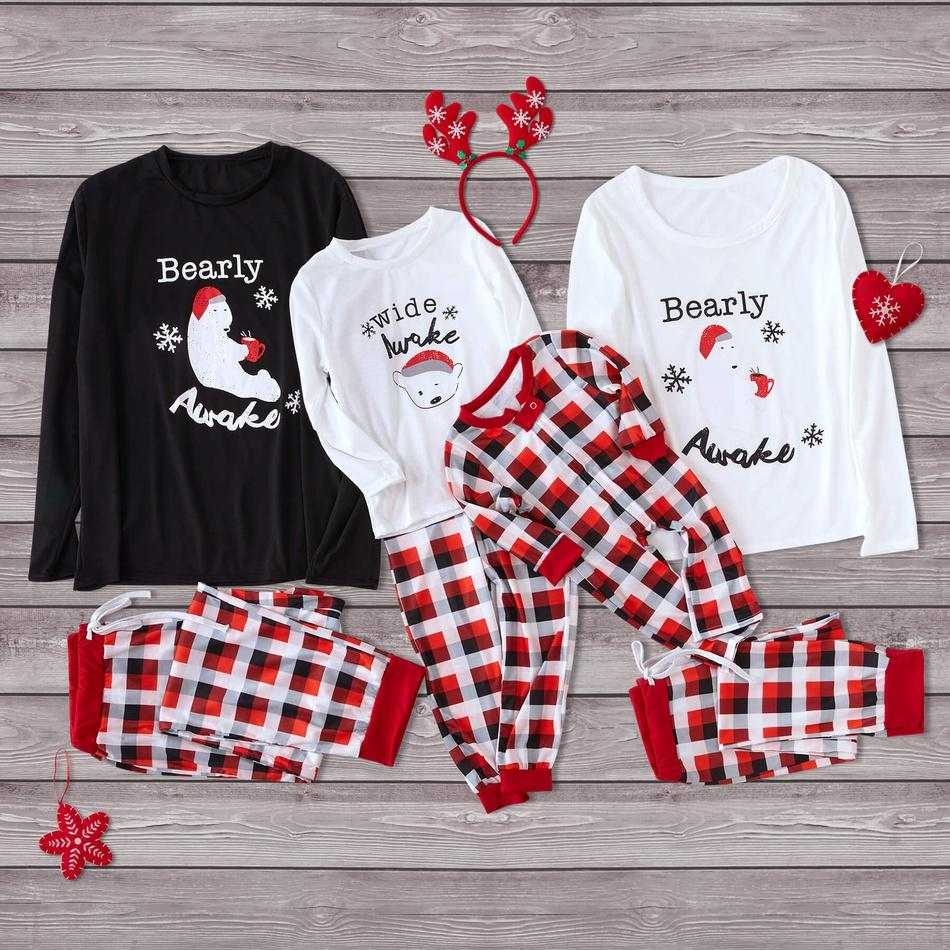 Christmas Bearly Awake Family Matching Plaid Pajamas