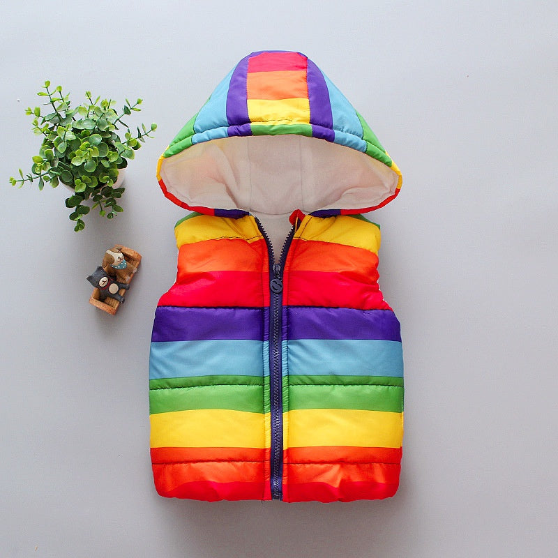 Baby / Toddler Colorful Rainbow Hooded Vest