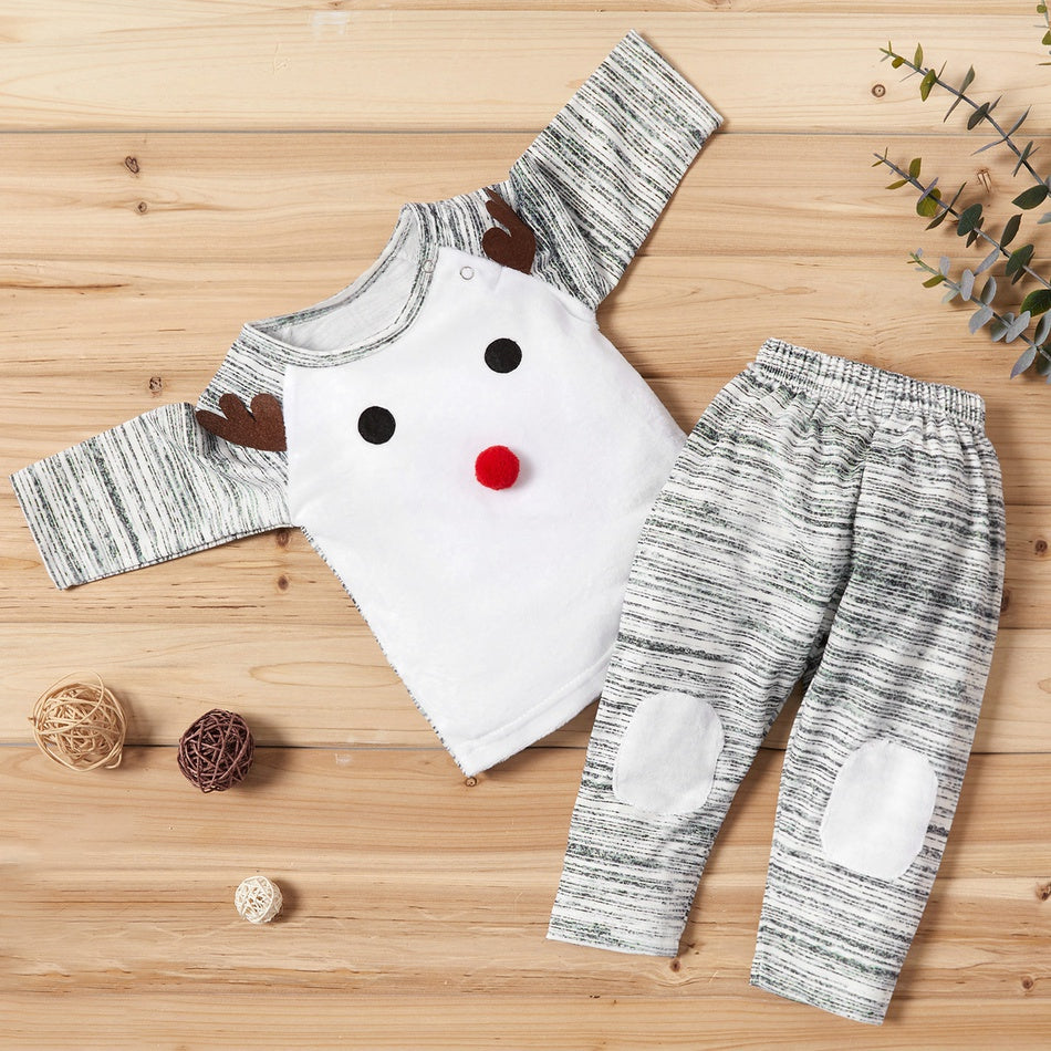 Baby Christmas Elk Decor Striped Top and Pants Set