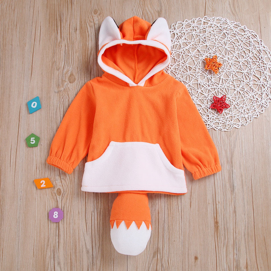Baby / Toddler Adorable 3D Fox Decor Colorblock Hoodies