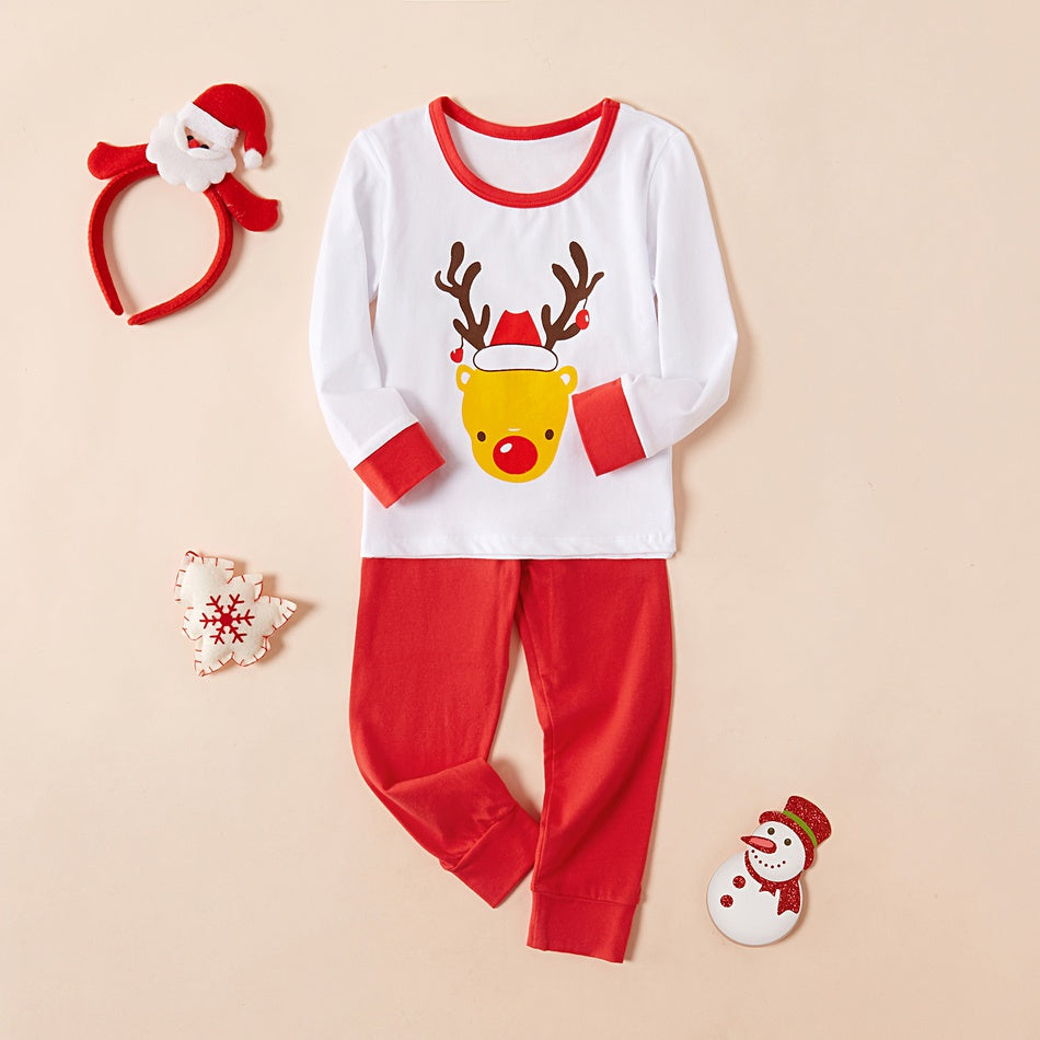 2-piece Baby Boy / Girl Christmas Adorable Reindeer Top and Solid Pants Underwear Set