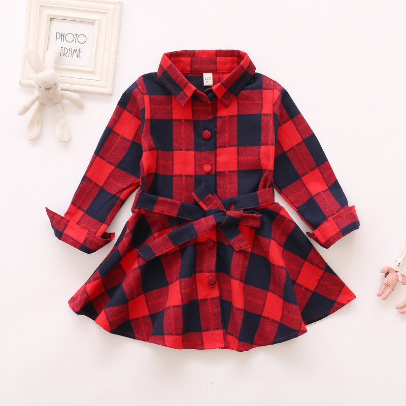 Toddler Girl Christmas Plaid Long-sleeve Shirt Dress