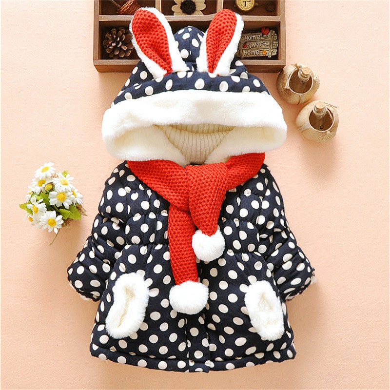 Baby / Toddler Lovely 3D Rabbit Decor Polka Dots Hooded Coat with Scarf