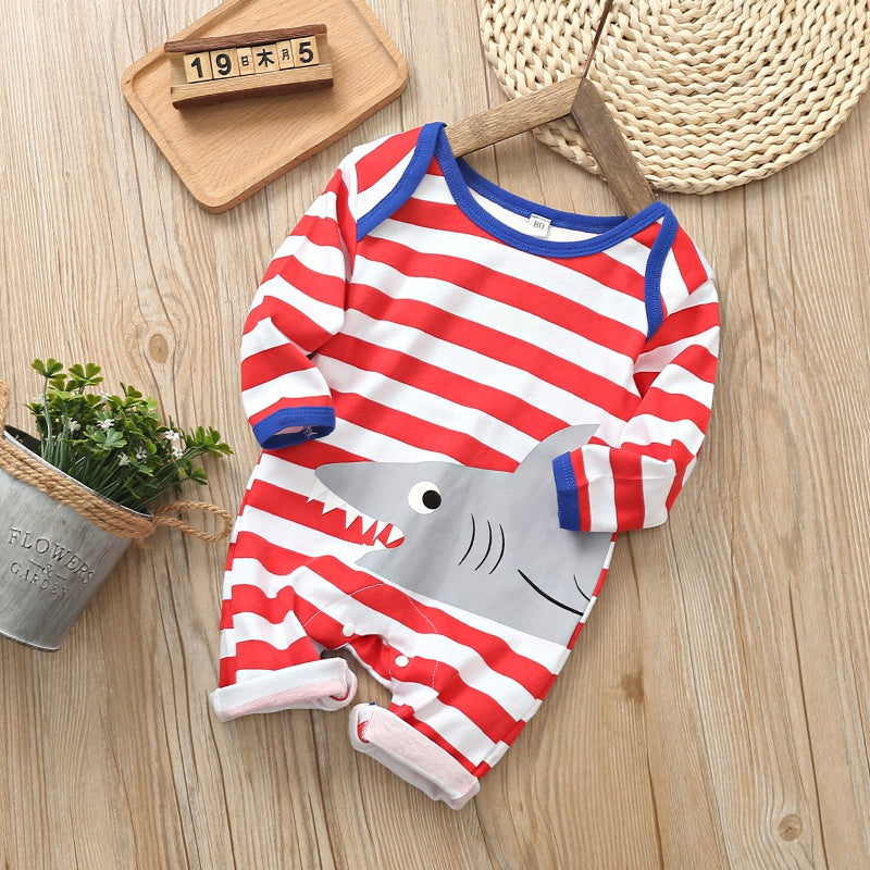 Baby Stripe Shark Print Long-sleeve Jumpsuit