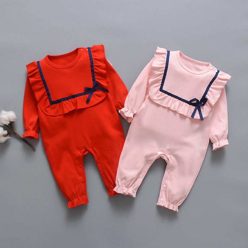 Baby Girl Solid Ruffled Design Long-sleeve Jumpsuit