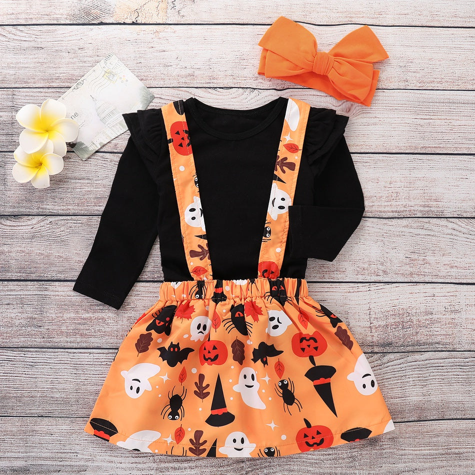 3-piece Baby / Toddler Solid Flounced Sleevelets Blouse and Halloween Style Skirt with Headband