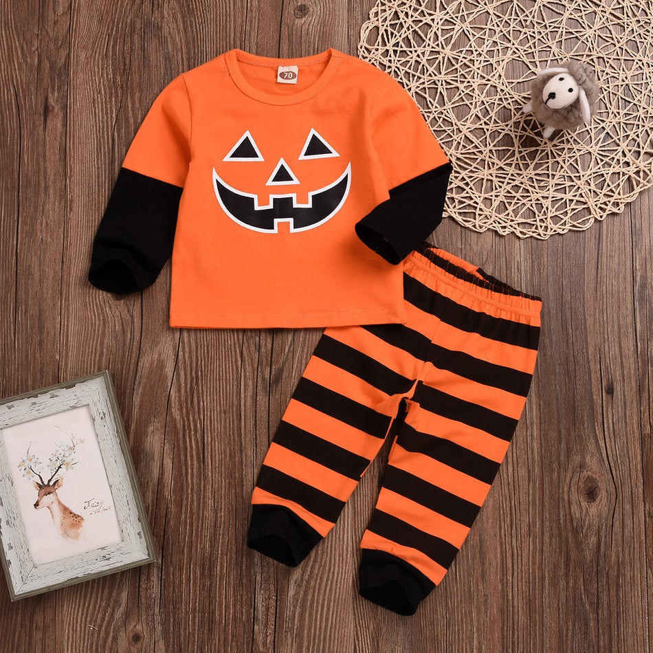 Baby / Pretty Halloween Pumpkin Colorblock Tee and Striped Pants Set