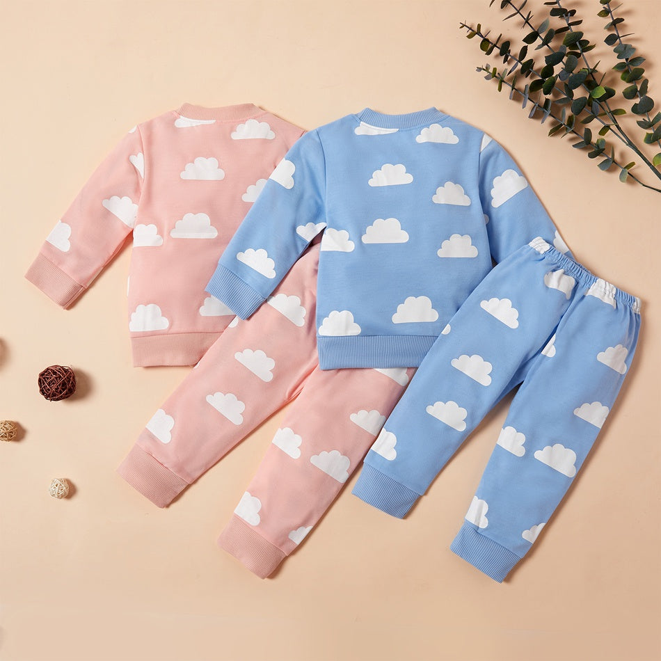 Baby / Toddler Stylish Cloud Allover Top and pants Set
