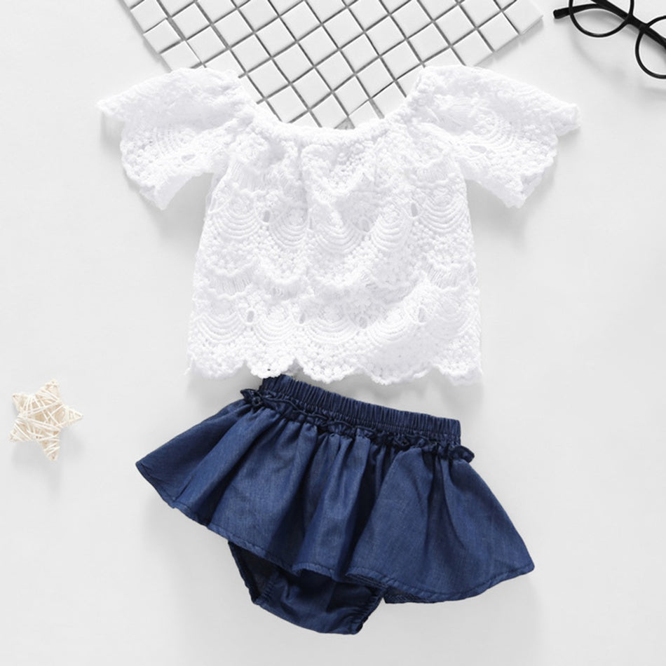 Lace Top and Ruffle Denim Shorts Set    2/15/19/3