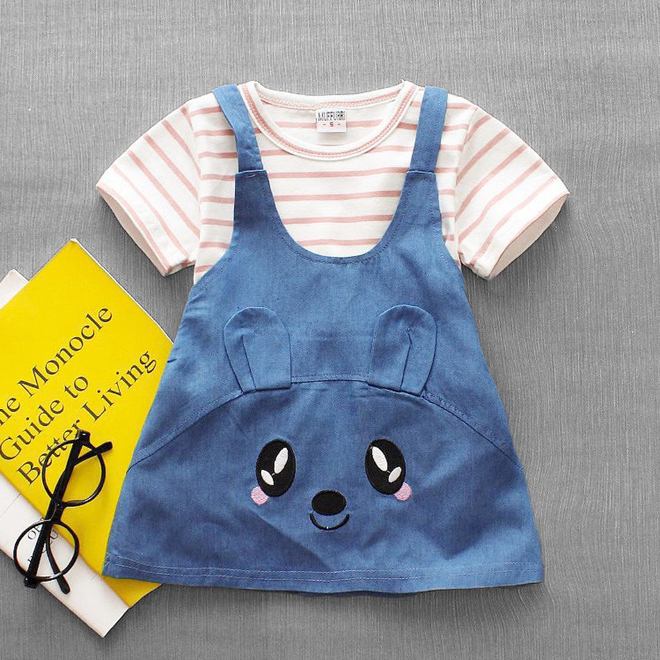 Baby&Toddler Overalls Striped Tee and Denim Big Eye Dress Set   3/3/19/7