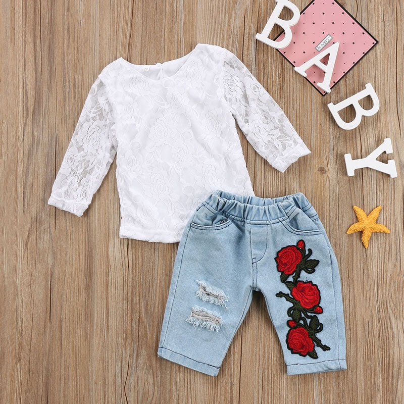 Lace Top and Floral Denim Pants Set