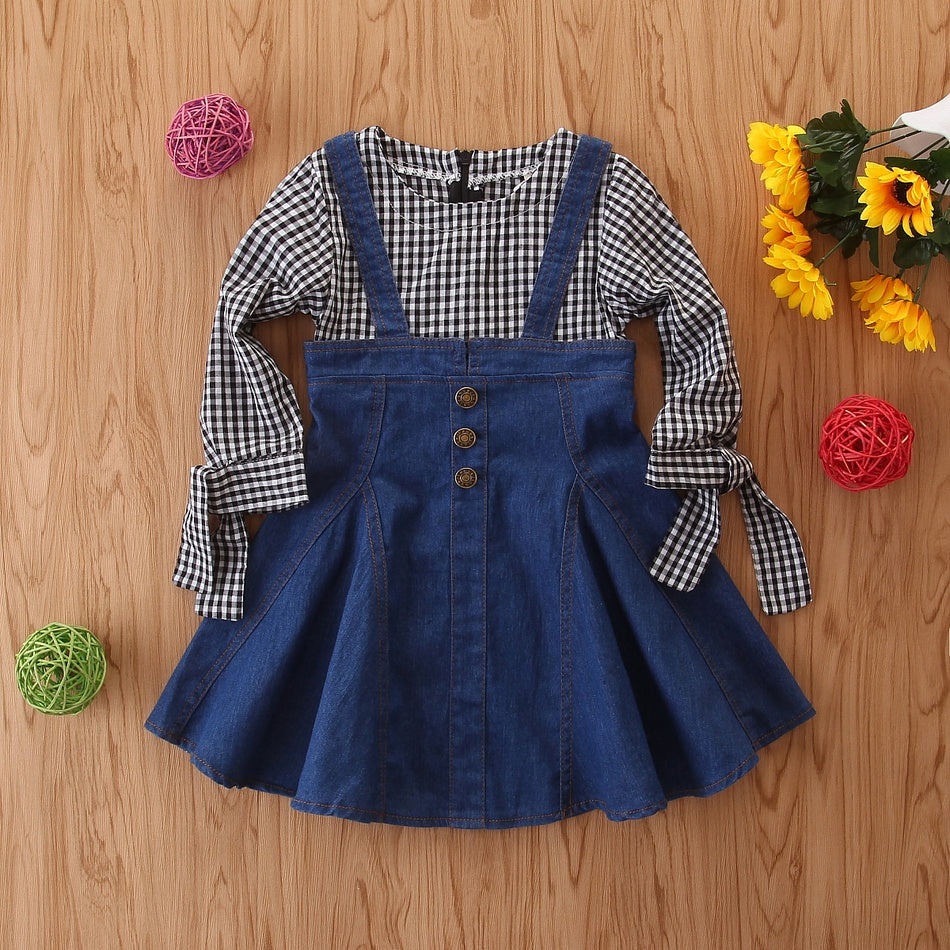 Baby Girl Denim Style Plaid Long-sleeve Dress