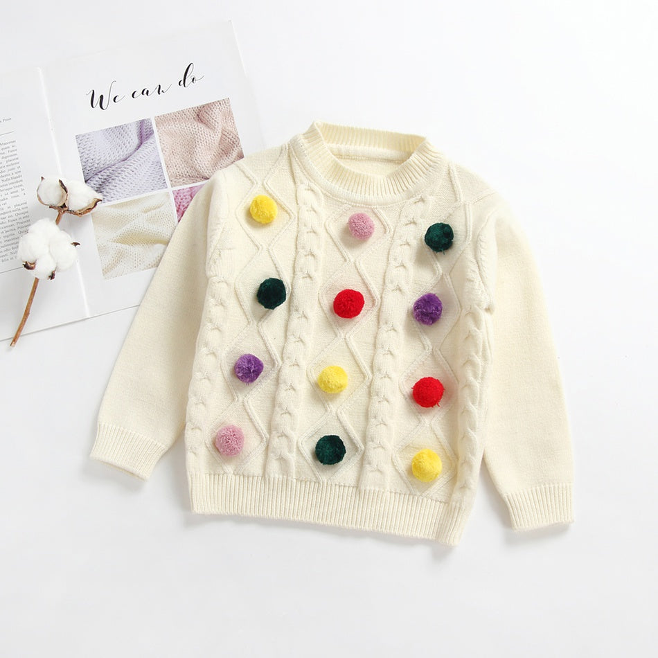 Colorful Pompom Sweater for Baby and Toddler
