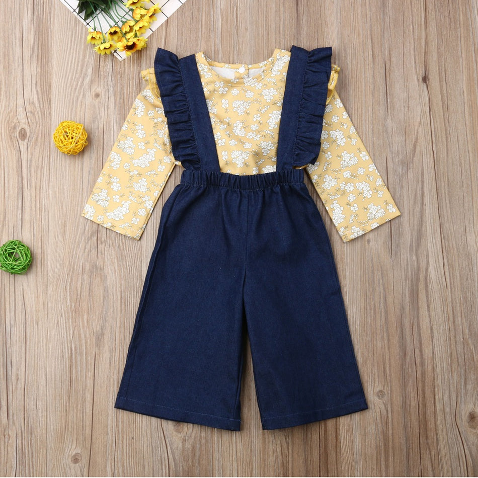 Baby / Toddler Floral Allover Top and Denim Ruffled Suspender Pants Set