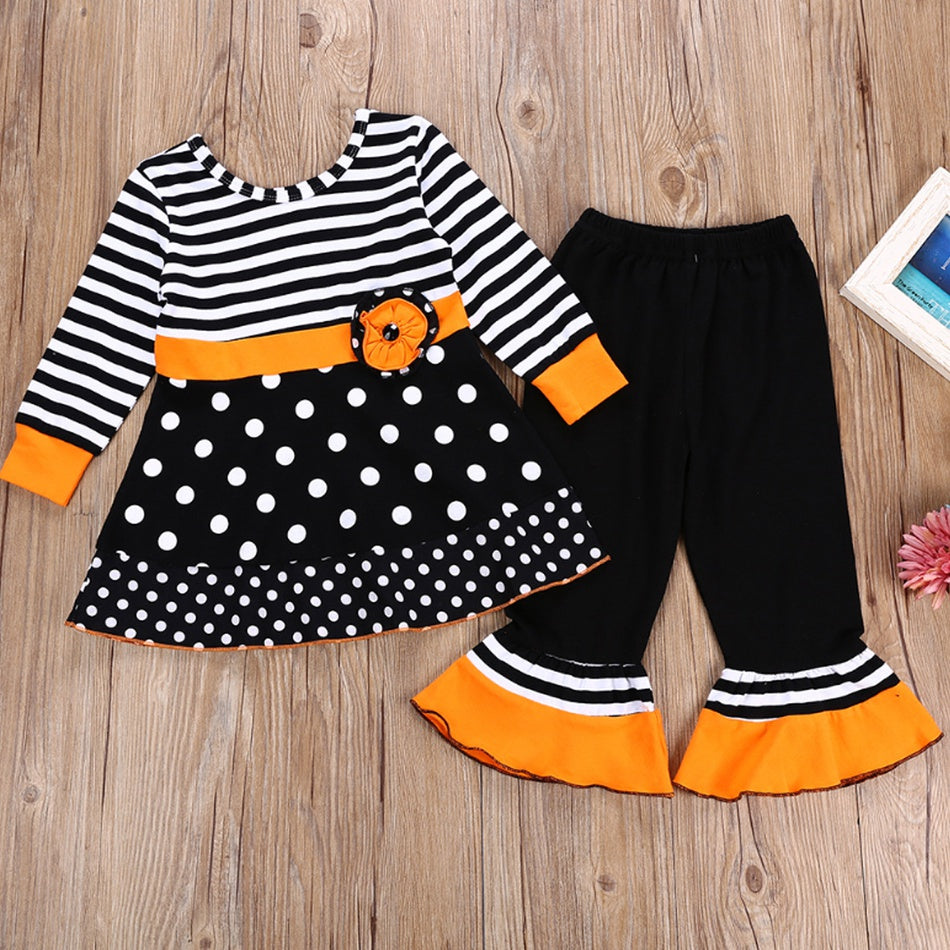 Baby / Toddler Halloween Striped Polka Dots Dress Top and Bellbottom Pants Set