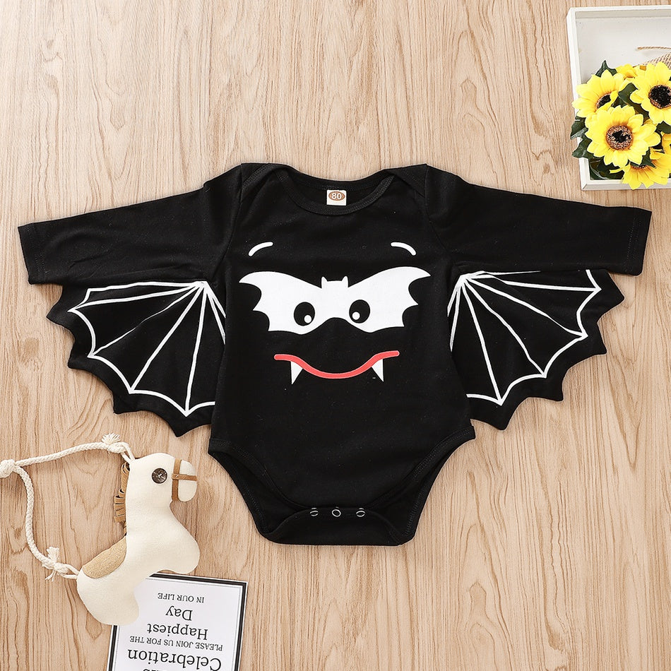 Baby Halloween Style 3D Bat Wing Design Long-sleeve Romper